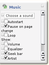 Configure music block