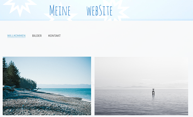 Erstellen einer Website mit einem maßgeschneiderten Banner