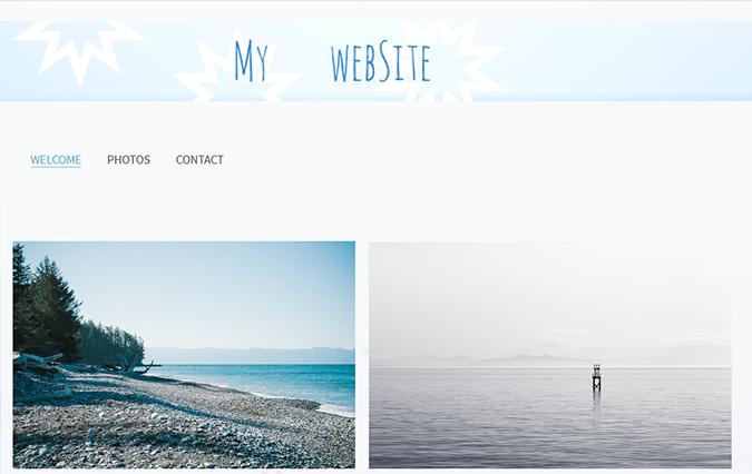 create a website with a custom banner