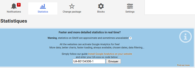 create a website with statistics