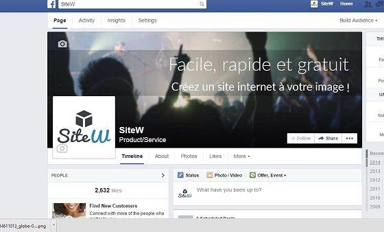 Page Facebook de SiteW