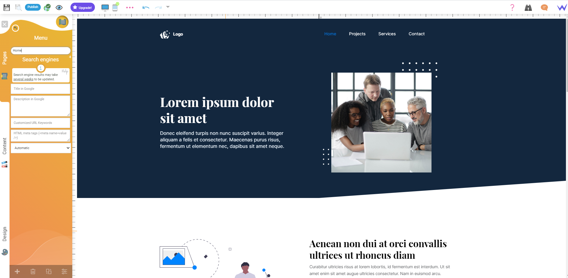 SiteW interface