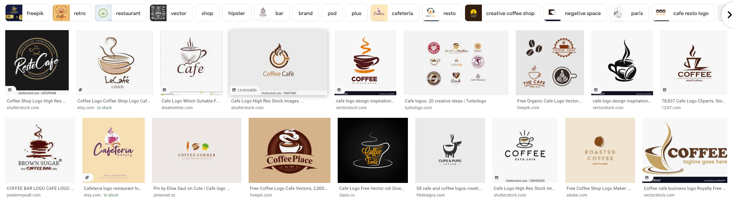 examples of logos for the cafés
