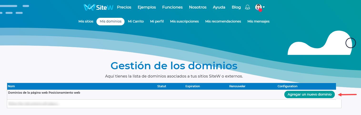 registrar un dominio con SiteW