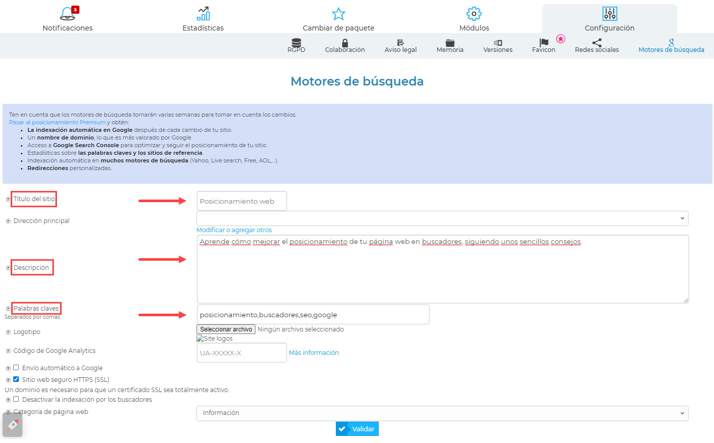 optimización web