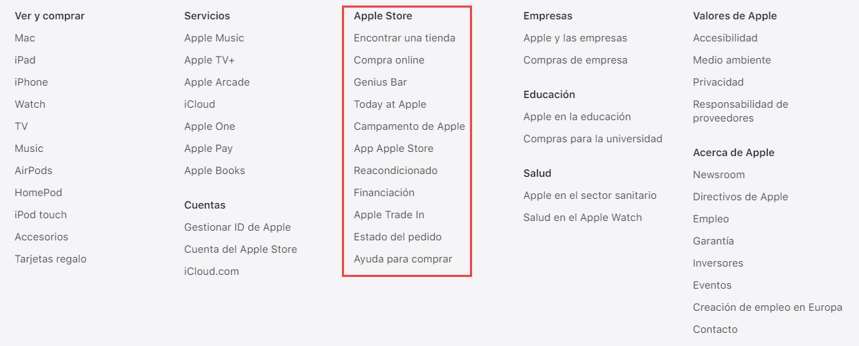 Pie de página de Apple