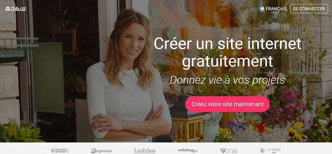 Page d'accueil SiteW, créer un site Internet
