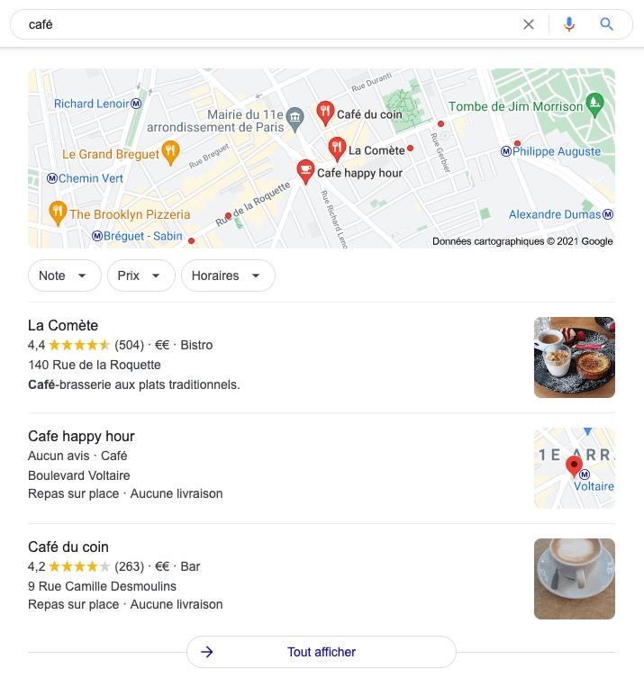 Google my business fiche