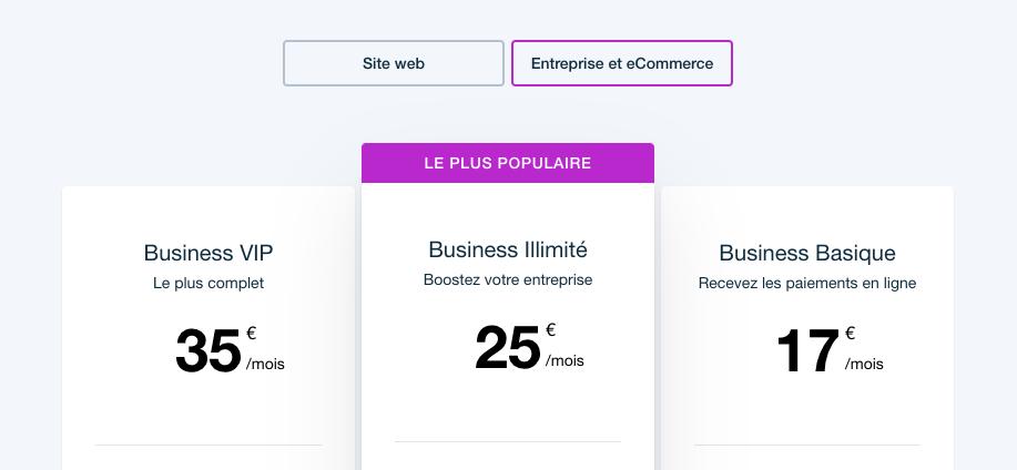 Wix, formules pour la création de boutique en ligne