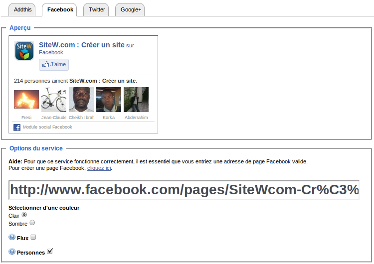 Vous pourrez ainsi créer un site qui publie votre page Facebook.