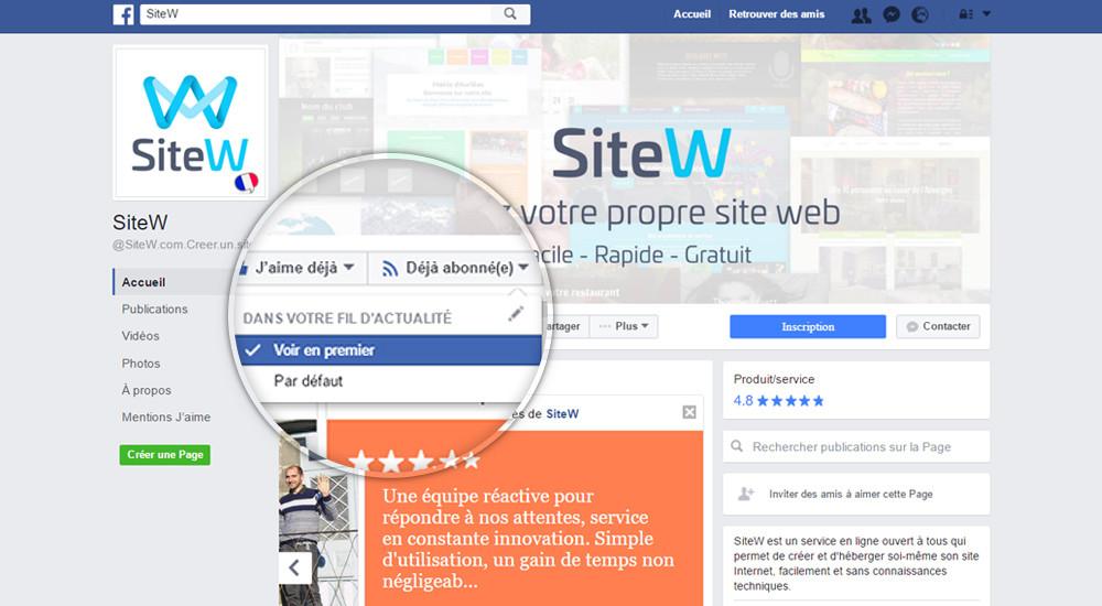 Facebook SiteW : Voir en premier