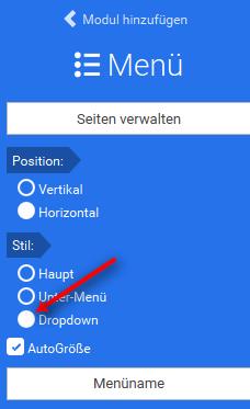 Dropdown-Menü Eigenschaften