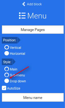 Properties of drop-down menu