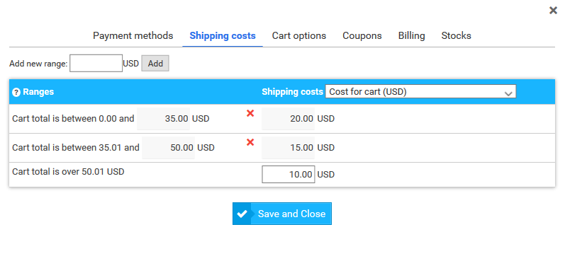 Build an online store : manage shipping costs