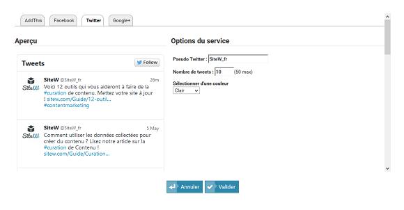 Vous pourrez ainsi créer un site qui publie votre page Twitter.