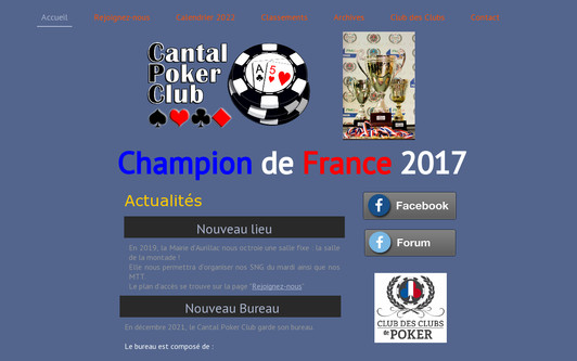 Example website Cantal Poker Club
