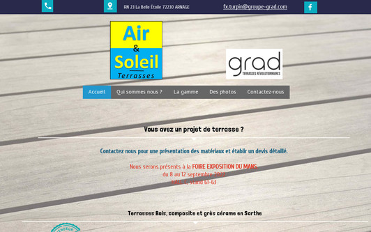 Ejemplo de sitio web air et soleil Terrasses GRAD