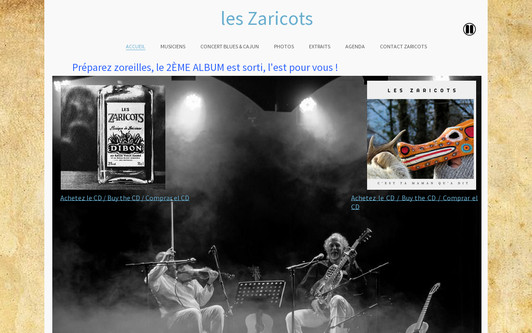 Example website Groupe cajun jura Les Zaricots