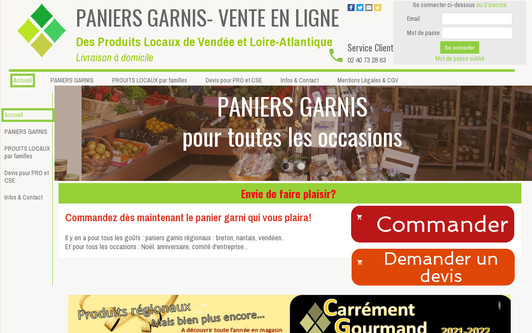 Site exemple Paniers Garnis 44 85 - Vente en Ligne