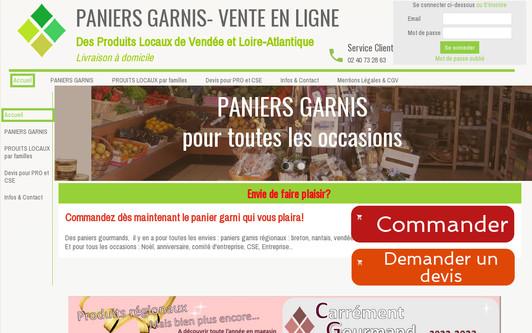 Ejemplo de sitio web Paniers Garnis 44 85 - Vente en Ligne