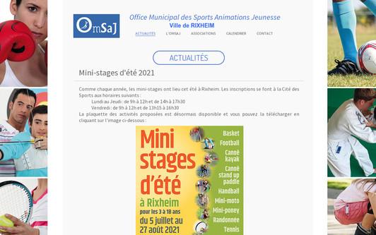 Example website Office Municipal des Sports Animation Jeunesse