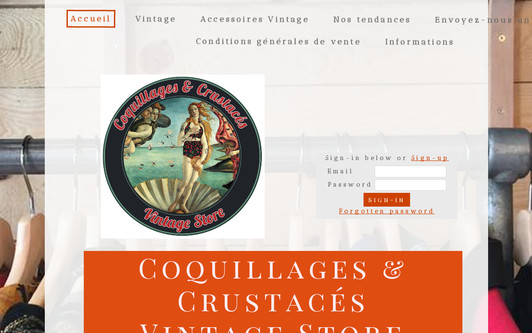 Site exemple Coquillages & Crustacés  Vintage Store