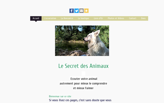 Example website Le Secret des Animaux