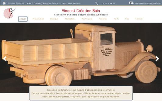 Ejemplo de sitio web Vincent Création Bois