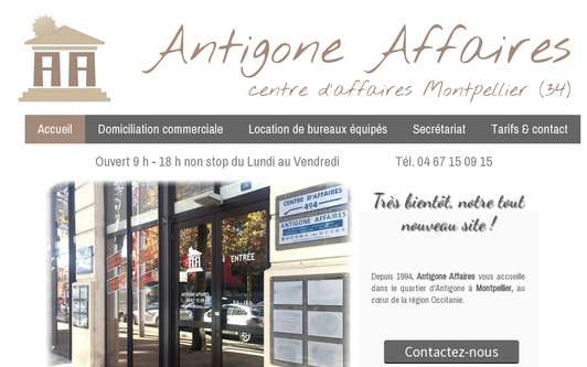 Ejemplo de sitio web ANTIGONE AFFAIRES - Domiciliation à Montpellier intra-muros