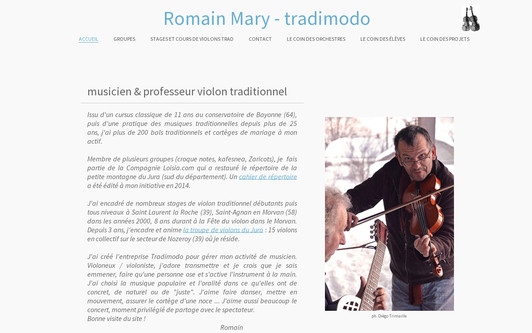 Example website Musicien et professeur de violon traditionnel dans le jura - Romain MARY tradimodo