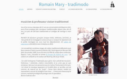 Ejemplo de sitio web Musicien et professeur de violon traditionnel dans le jura - Romain MARY tradimodo