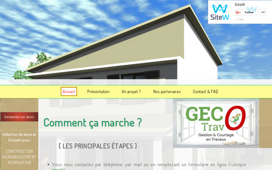 Site exemple GECO TRAVO Gestion & Courtage en Travaux