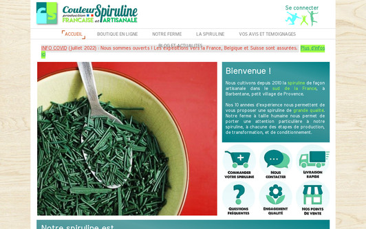Site exemple Couleur Spiruline, ferme artisanale française de siruline
