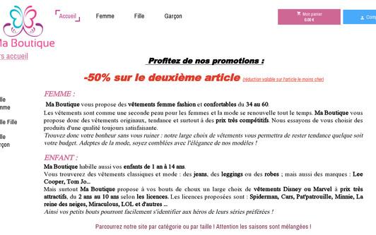 Ejemplo de sitio web Ma boutique