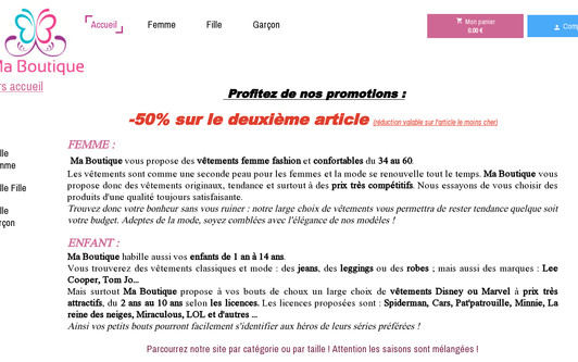 Example website Ma boutique