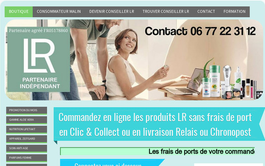 Ejemplo de sitio web LR produits cosmetiques