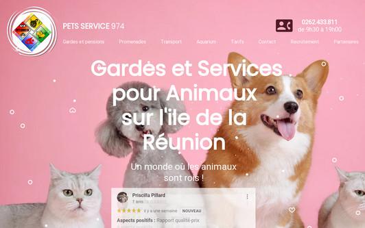 Site exemple PET'S SERVICE 974 est le spécialiste Professionnel n°1 de la PENSION, GARDE, PROMENADE et SERVICES pour chien et chat sur l'ile de la Réunion (974) ainsi que pour tout les Animaux de compagnie: chien, chat, poisson, rongeur, oiseau