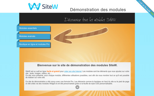 Example website Demonstration des modules SiteW