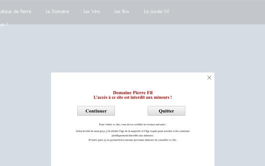 Ejemplo de sitio web Domaine Pierre Fil