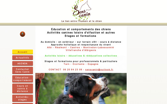 Site exemple Sens Canin éducation canine-médiation animale Tarn