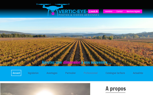 Example website Vertic-Eye-Limit.fr - photos aériennes par drone dans le Var