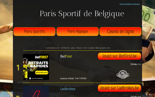 Example website Paris en Ligne Belgique